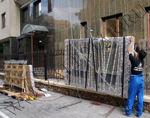 Монтаж системы для подъема стеклопакетов