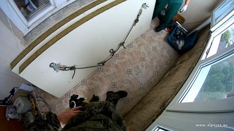 утепление плиты балкона сэндвич панелью методом промышленного альпинизма, альпстар
