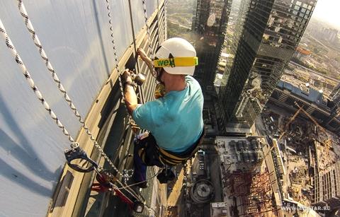 Москва сити, башня восток, промышленные альпинисты, альпстар